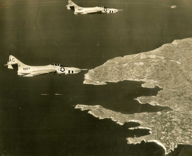 F-9 Cougar over Malta F9f-8p11
