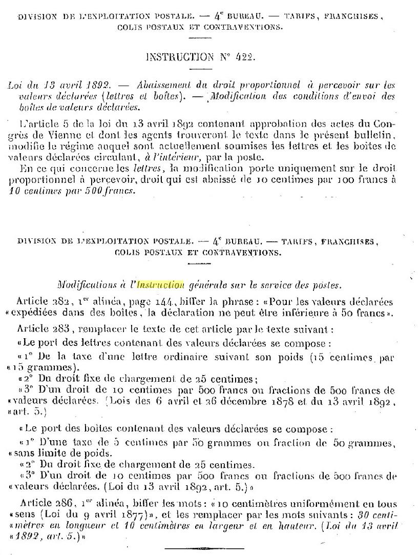 je cherche lettre chargée Loi_1810