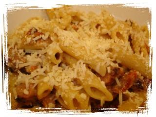 Pennes au poulet, à la saucisse italienne grillée et à la crémeuse de tomates séchées au romarin Dsc05627