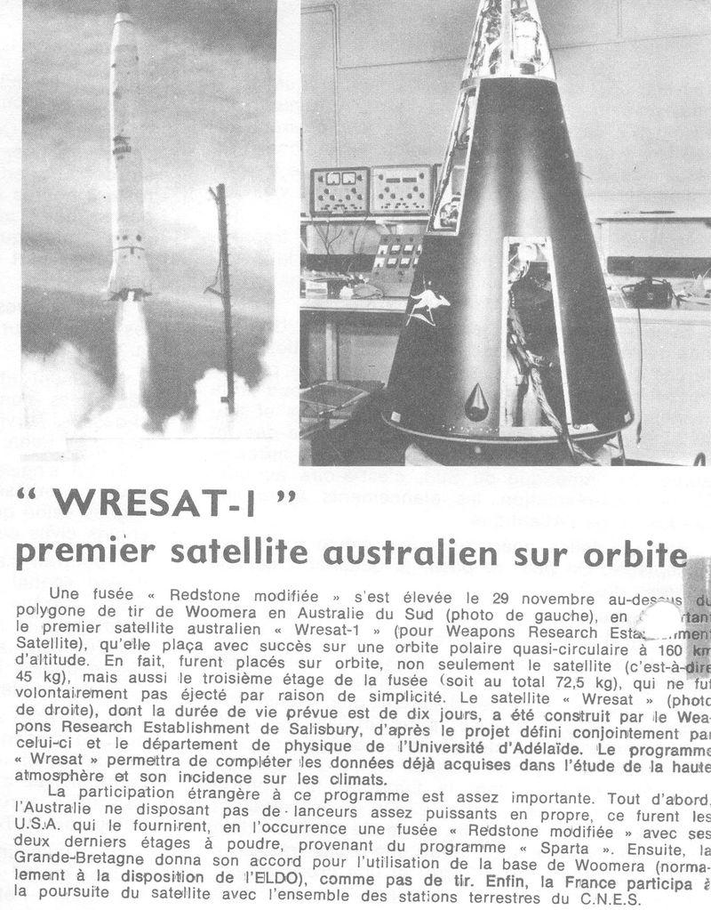 29-11-1967 WRESAT -1: 1er satellite australien 67112910