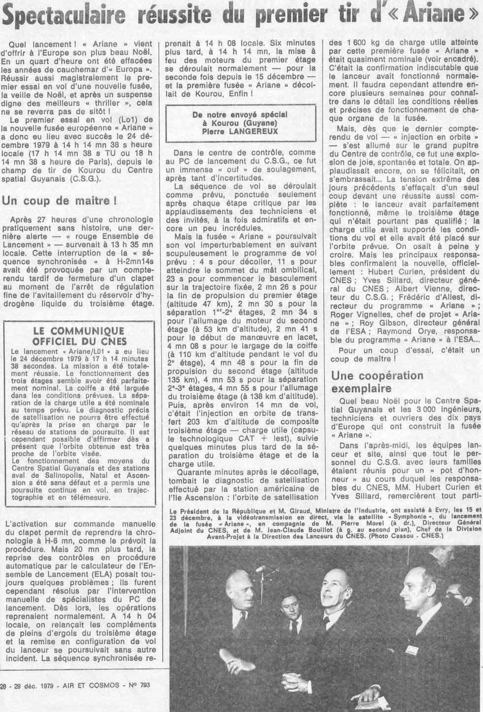 24 décembre 1979 - Début de l'ère d'Ariane 79122910