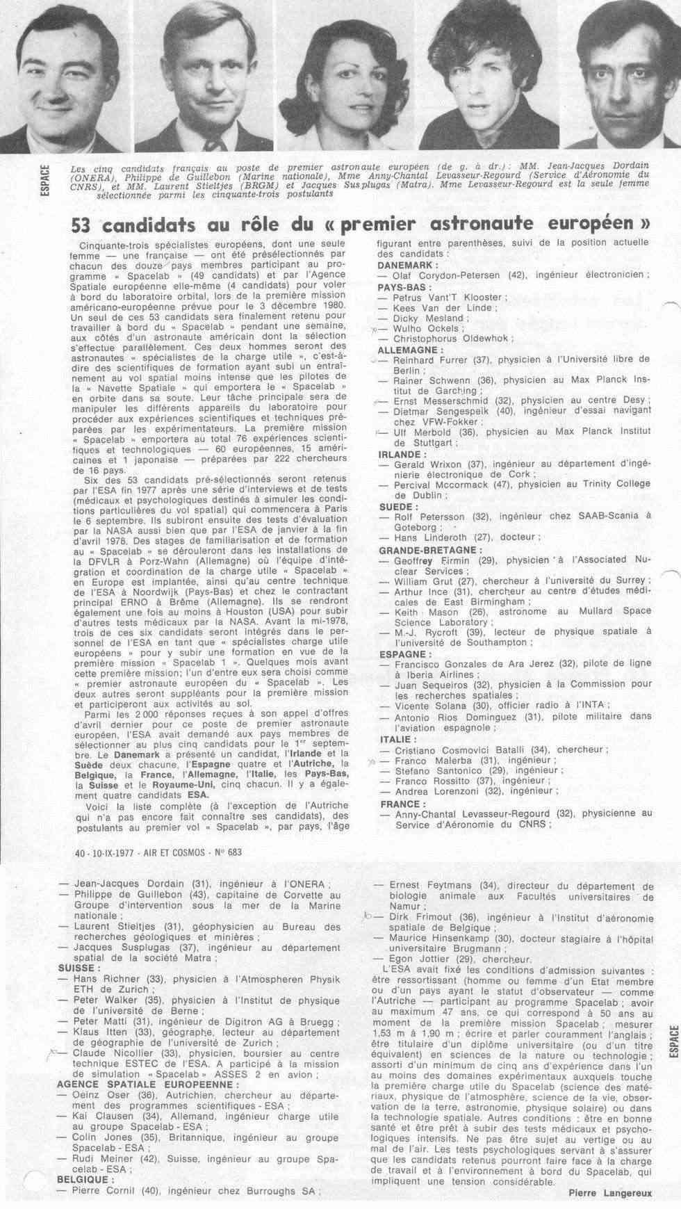 Octobre 1985 - Les nouveaux astronautes français Spatio10