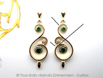 Boucles d'oreilles or.......grenats démantoïdes et diamants Michel10