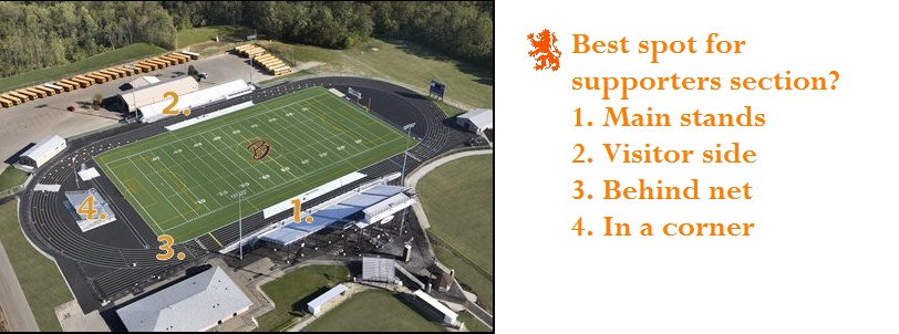 Where should the supporters section be at Bellbrook? 1astad10