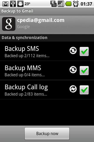 [SOFT] BACKUP TO GMAIL : Synchroniser vos SMS, MMS et vos appels [Payant] Backup10