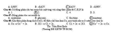 Đáp án và đề thi TN môn Hoá 2010 Cham4610