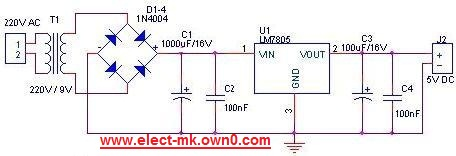 Simple power supply 5 volt Pwr5v10