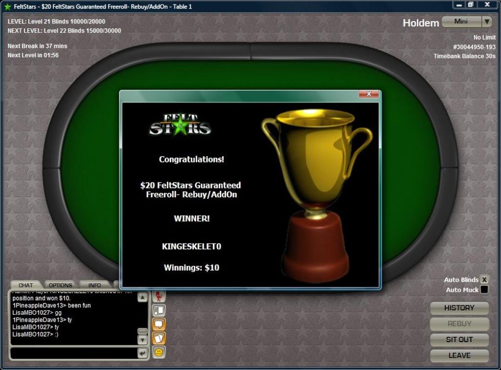 1st win on feltstars Felt_110