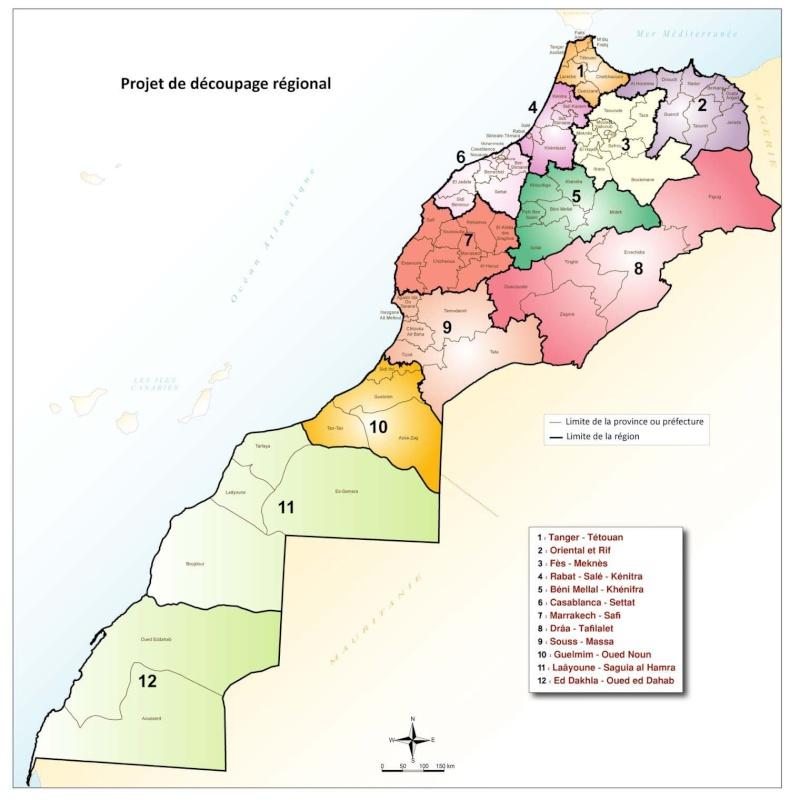 Nouvelle Carte Régionale du Maroc * التقسيم الجديد للجهات بالمغرب Ragion10