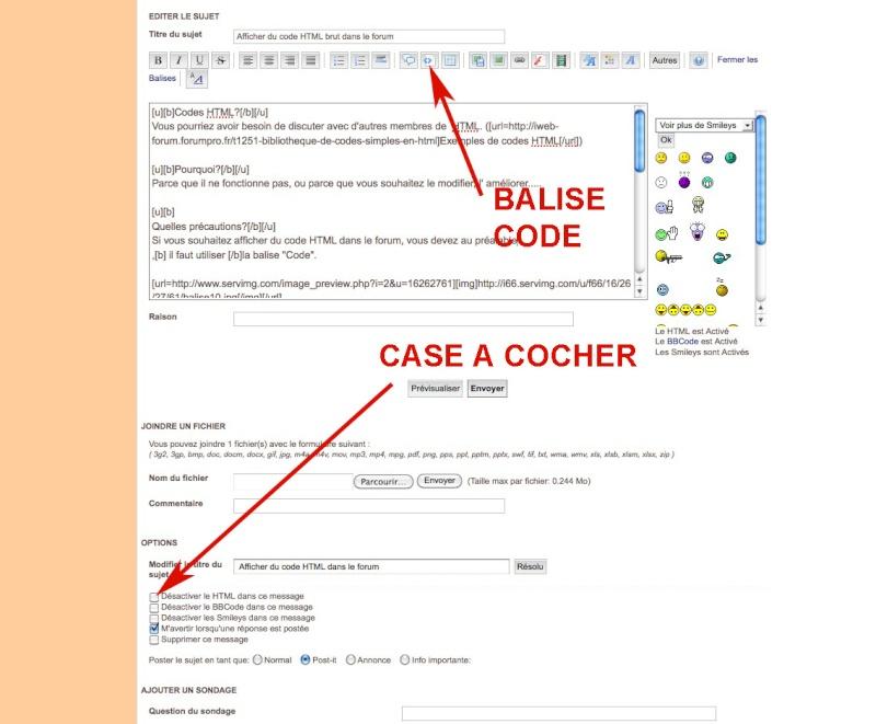 Afficher du code HTML brut dans le forum Codeht10