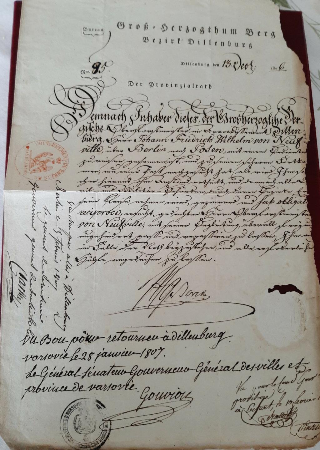 Passeport du Grand Duché de Berg Berg411