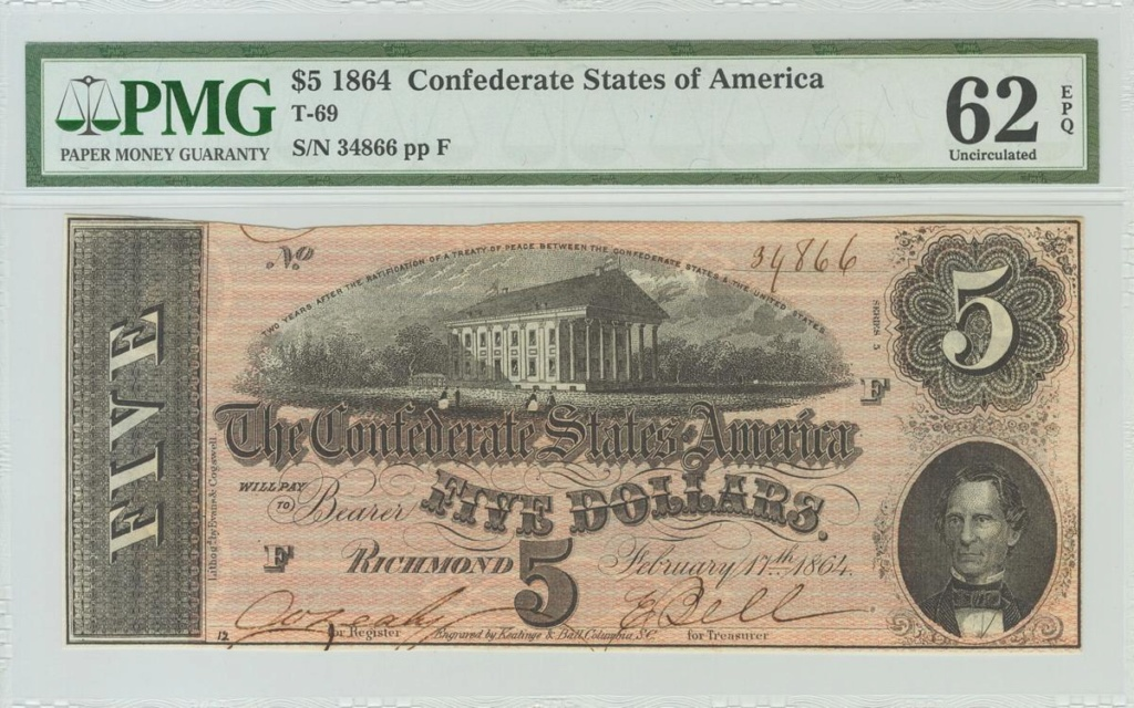 5 Dolares Estados Confederados de America 1864. 1226_110