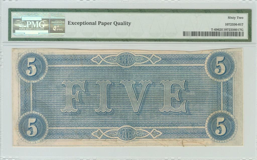 5 Dolares Estados Confederados de America 1864. 1226_210