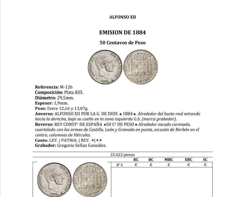 50 centavos 1884. Alfonso XII. Manila 125