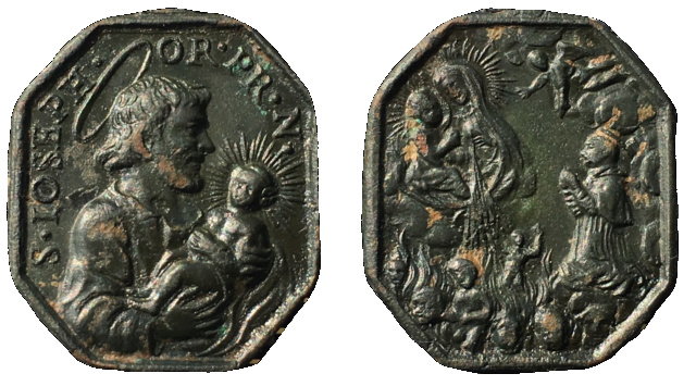 San José con el Niño Jesús / Virgen del Carmen, san Simón Stock y almas del Purgatorio (R.M.SXVIII-P108)  1a14