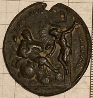Medalla Madonna del Fuoco / San Peregrino Laziosi. S. XVIII 2dbe4411