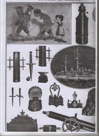 Douille d'obus sculptée par un poilu lors de la 1ère guerre mondiale 64116410