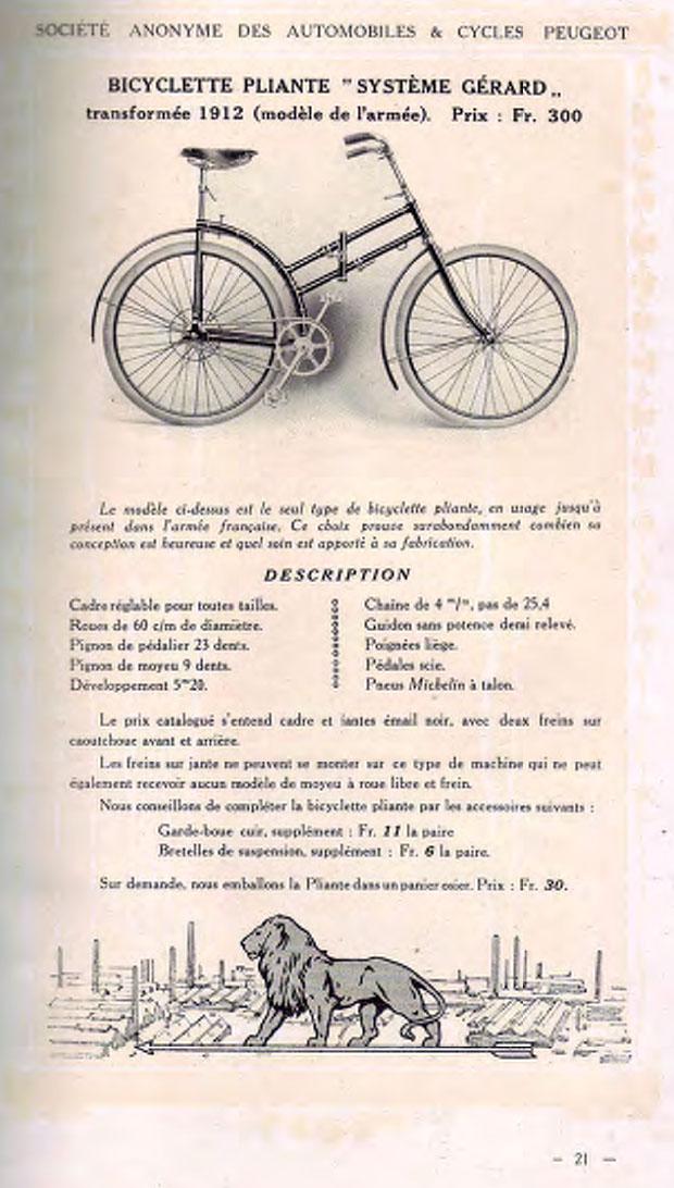 Peugeot - pliant Capitaine Gerard ,  model 1912  ww1 1914_p10