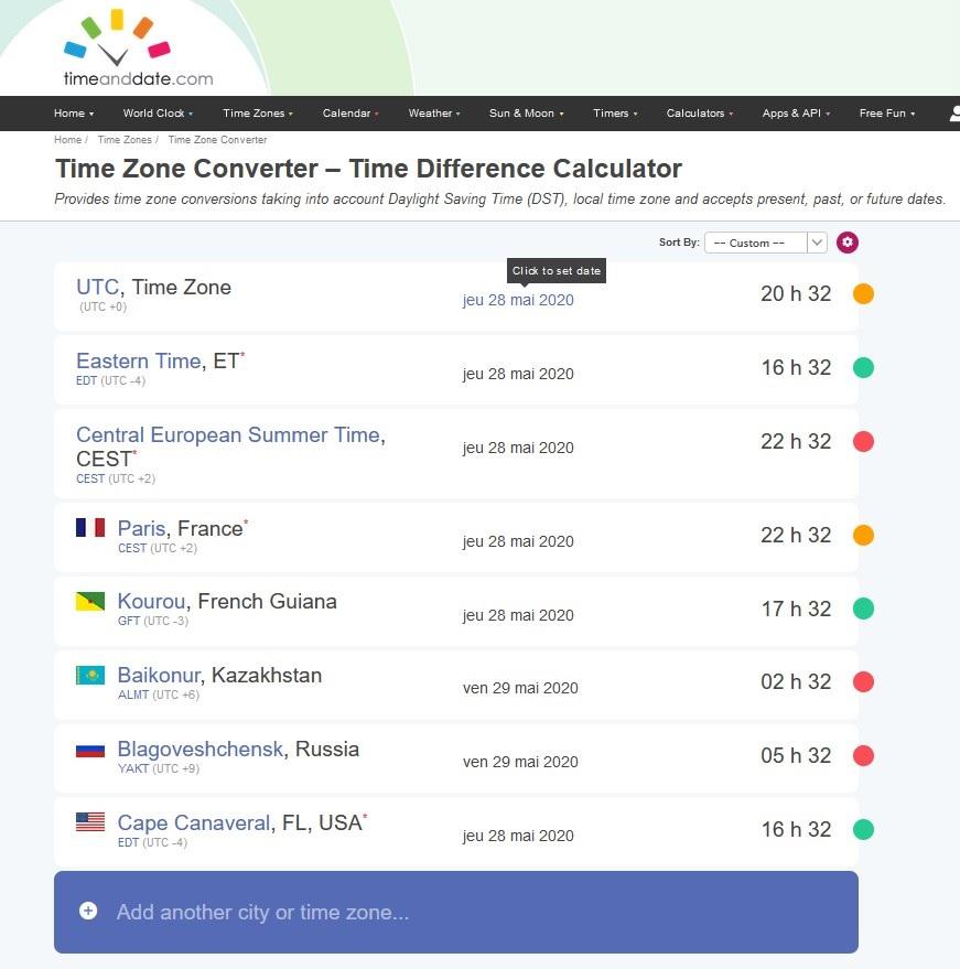Dates et horaires des différents sites de lancement avec Time Zone Converter Time_z10