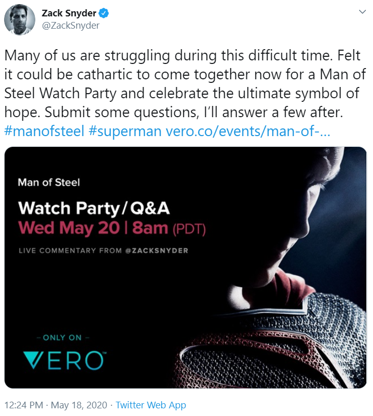 Zack Snyder Man of Steel Watch Party Wed., May 20, 8am PST 2020-010