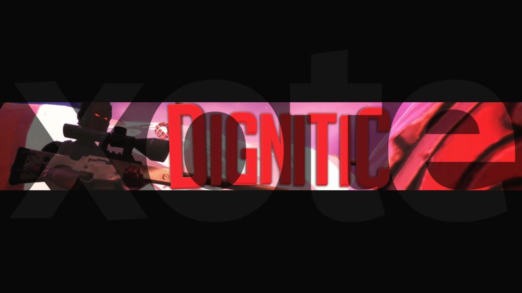 באנר פורטנייט רד נייט עם טקסטורה אדומה וטקסט תלת מימד Dignit10