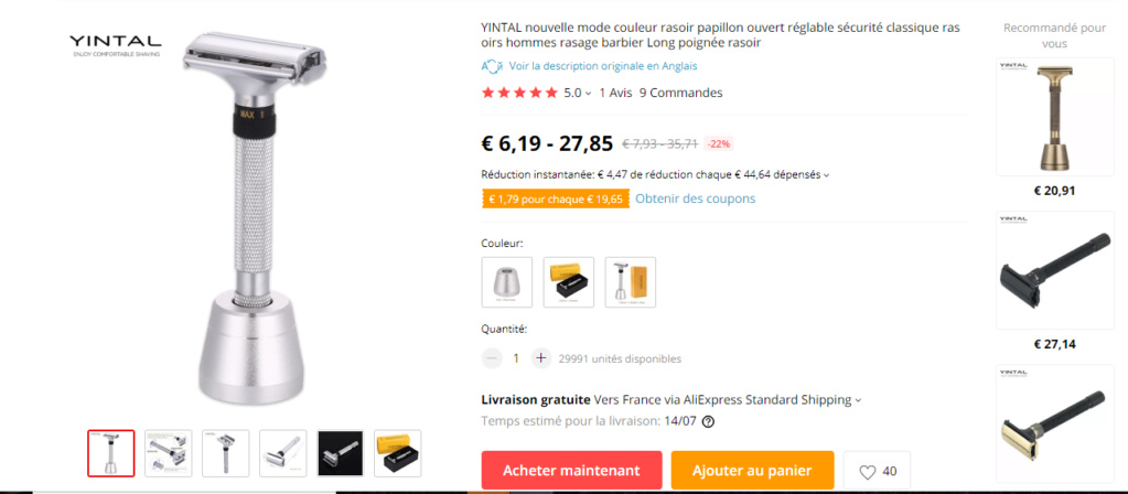 Yintal papillon et ajustable Captur17