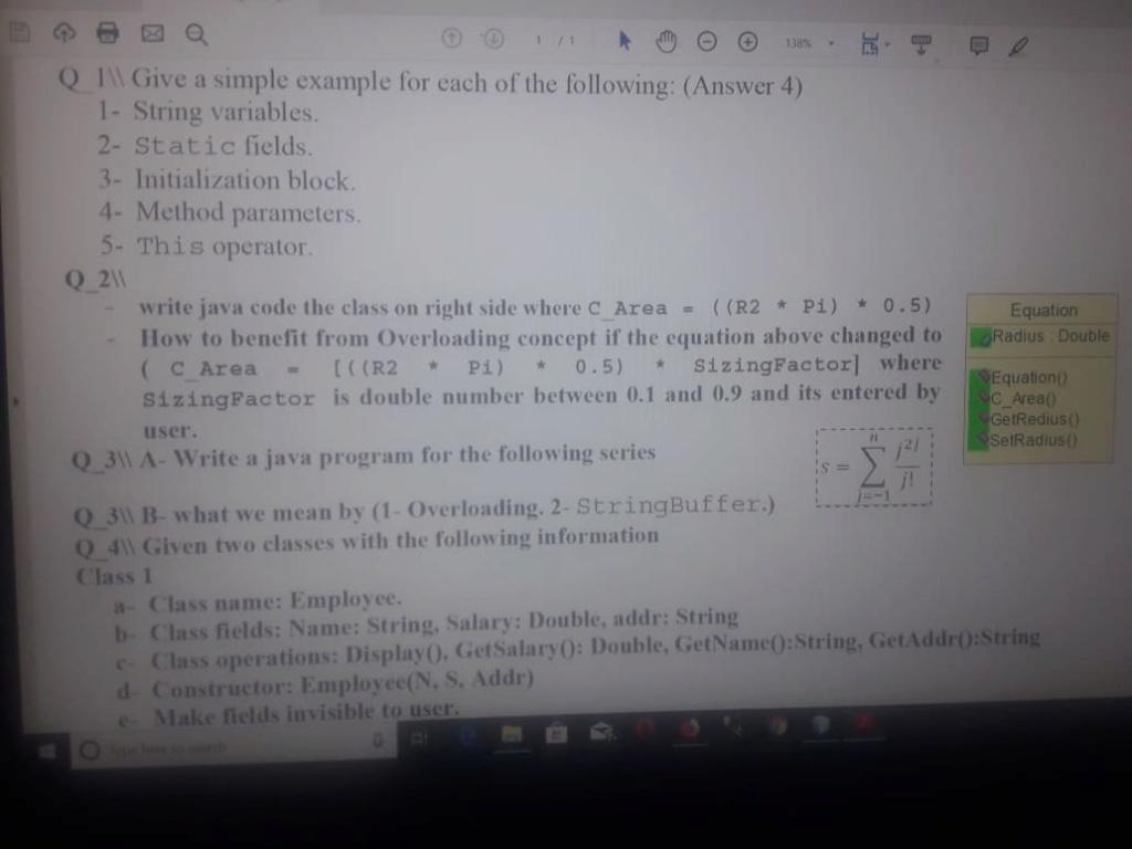 حل اسئلة و تمارين بلغة الجافا  49115110