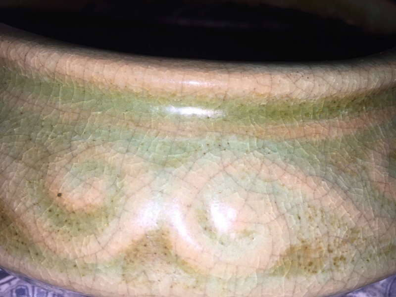 Squat bowl, matte green glaze, Red clay unmarked 1e783e10