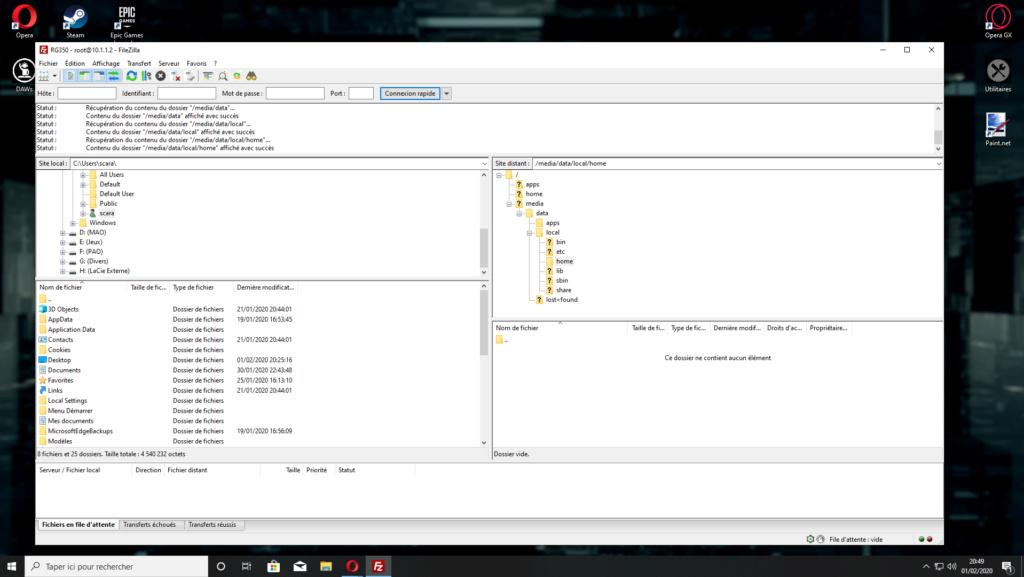 Problème étrange lorsque ma console (RG350) est connectée en FTP... 0110