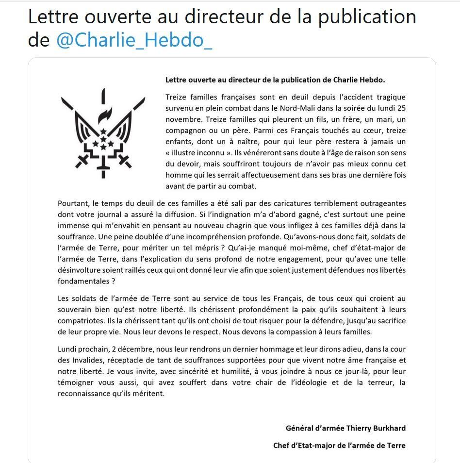 2019/11/30 Lettre ouverte du Général Thierry BURGHARD Chef d'Etat-Major de l'Armée de Terre Lettre10