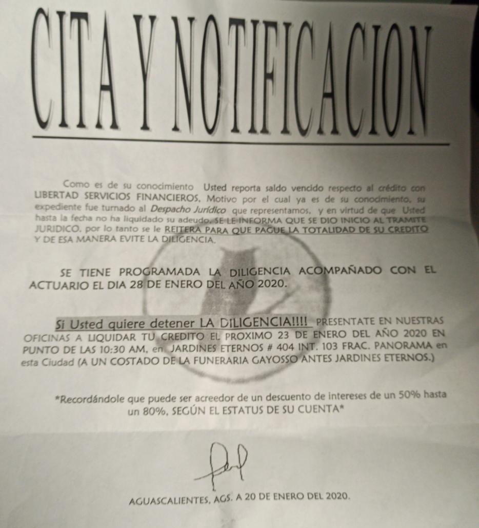 Duda con CITA Y DILIGENCIA  (Financiera LIBERTAD) Carta_10