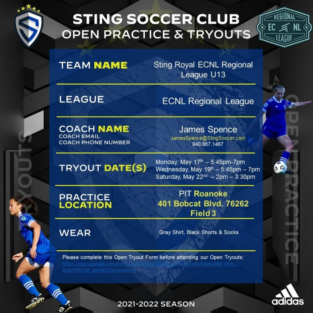 Sting Royal ECNL Regional League U13 - Open Tryouts Tryout10