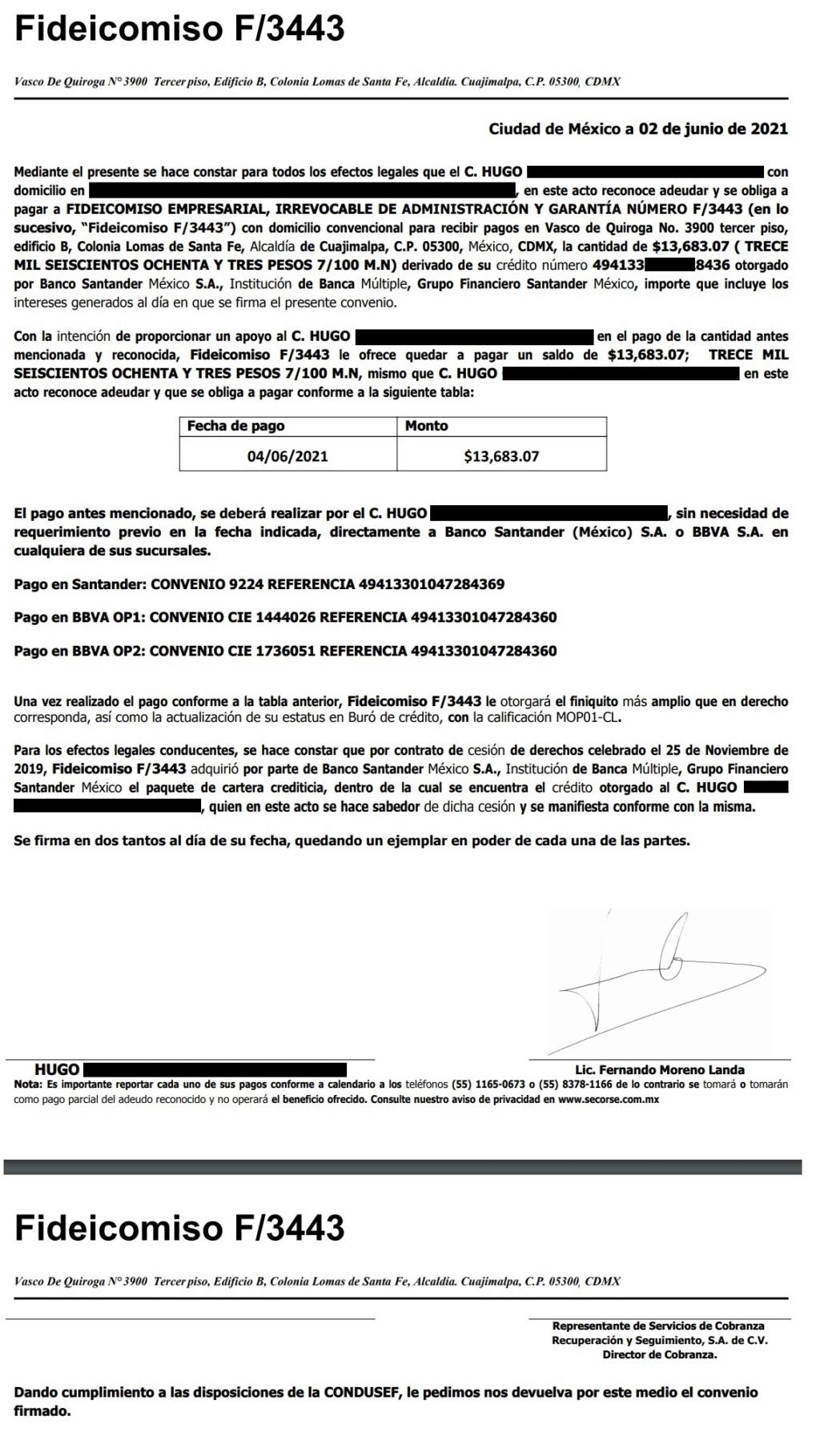 Validacion de carta convenio Scorse/Fideicomiso F/3443 Conven10