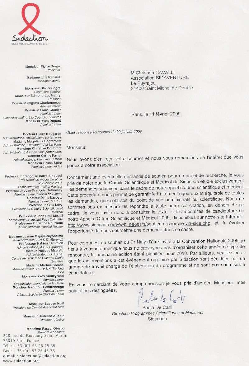 Copie du courrier envoyé à Mr Bergé président de Sidaction Repons10
