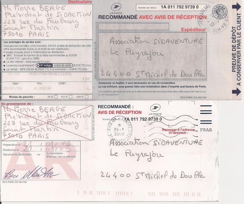 Copie du courrier envoyé à Mr Bergé président de Sidaction Sidact12