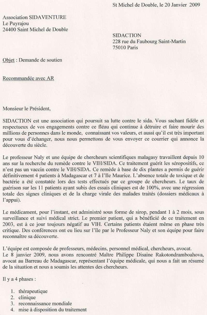 Copie du courrier envoyé à Mr Bergé président de Sidaction Sidact14