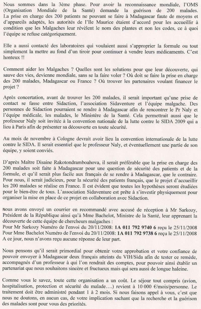 Copie du courrier envoyé à Mr Bergé président de Sidaction Sidact15