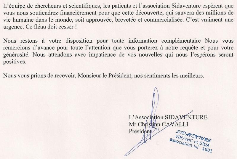 Copie du courrier envoyé à Mr Bergé président de Sidaction Sidact16