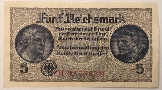 Billet de 5 mark de La caisse de crédit du Reich  0661c310