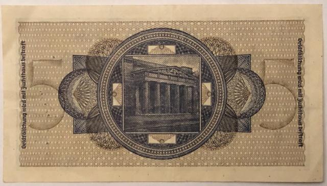 Billet de 5 mark de La caisse de crédit du Reich  253dec10