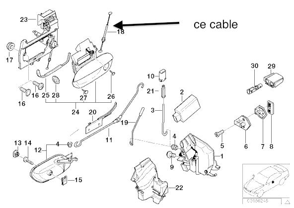 [ BMW E39 530da an 2001 ] recherche câble qui tire la serrure de porte (résolu) Cable11