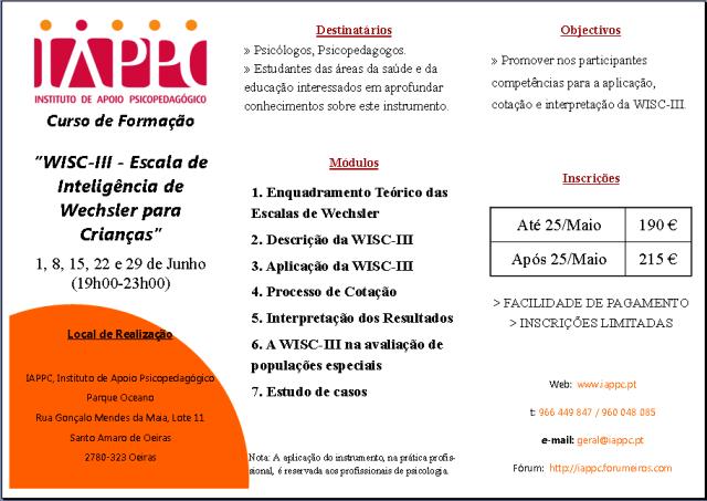 WISC-III - ESCALA DE INTELIGÊNCIA DE WECHSLER PARA CRIANÇAS Iappc_14
