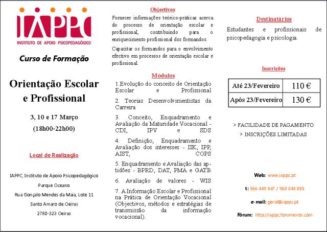 ORIENTAÇÃO ESCOLAR E PROFISSIONAL Iappc_22