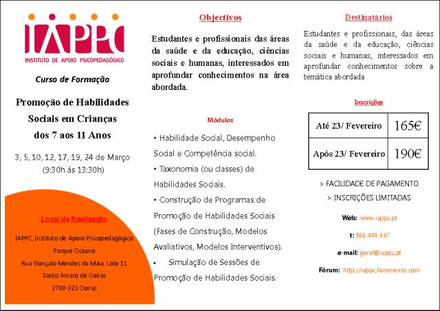 PROMOÇÃO DE HABILIDADES SOCIAIS EM CRIANÇAS DOS 7 AOS 11 Iappc_23
