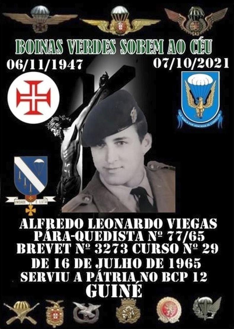 Faleceu o veterano Alfredo Leonardo Viegas, Soldado PQ, do BCP12 - 07Out2021 Alfred10