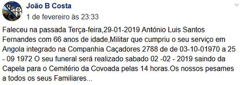 Faleceu o veterano António Luís Santos Fernandes, CCac2788/BII18 - 29Jan2019 Antzni13