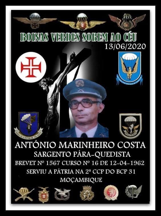 Faleceu o veterano António Marinheiro Costa, Sargento PQ, da 2ªCCP/BCP31 - 13Jun2020 Antzni28