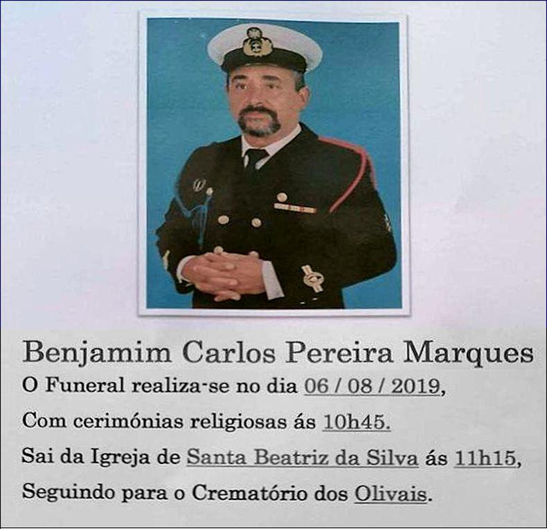 Faleceu o veterano Benjamim Carlos Pereira Marques, MFzE, do DFE11 - 05Ago2019 Benjam11