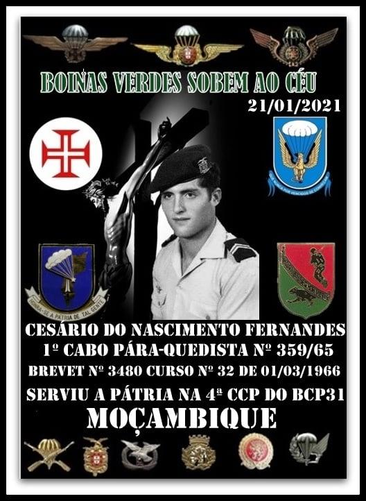 Faleceu o veterano Cesário do Nascimento Fernandes, 1.º Cabo PQ, da 4ªCCP/BCP31 - 21Jan2021 Ceszer10