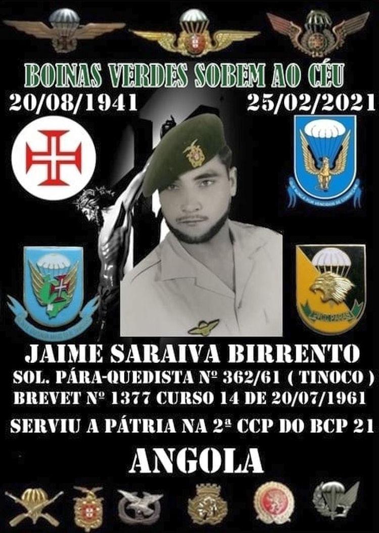 Faleceu o veterano Jaime Saraiva Birrento, Soldado PQ, da 2ªCCP/BCP21 - 25Fev2021 Jaime_10